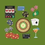 Iconos planos del casino fijados Foto de archivo libre de regalías