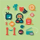 Iconos planos del cine fijados Imagen de archivo libre de regalías