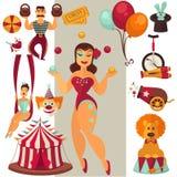 Iconos planos del circo del vector fijados Imágenes de archivo libres de regalías