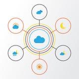 Iconos planos del clima fijados Colección de soleado, Sun, Crescent And Other Elements También incluye símbolos tal como ducha ilustración del vector