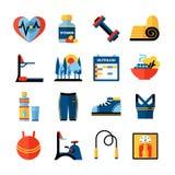 Iconos planos del color de la aptitud fijados Fotos de archivo libres de regalías