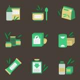Iconos planos del color de la nutrición del bebé Fotografía de archivo libre de regalías