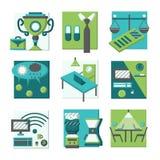Iconos planos del color de los conceptos de Coworking Imagenes de archivo