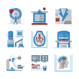 Iconos planos del color de MRI Fotos de archivo libres de regalías