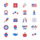 Iconos planos del color del Día de la Independencia Imagenes de archivo