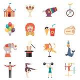 Iconos planos del color del funcionamiento del circo fijados Fotografía de archivo libre de regalías