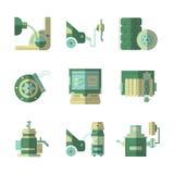 Iconos planos del color para el servicio del coche Fotografía de archivo
