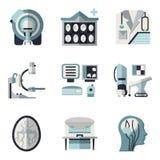 Iconos planos del color para la exploración del CT MRI Fotos de archivo