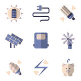 Iconos planos del color para los ahorros de la energía Imágenes de archivo libres de regalías