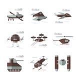 Iconos planos del color para los robots militares Imagen de archivo libre de regalías