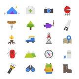 Iconos planos del color que acampan Fotos de archivo libres de regalías