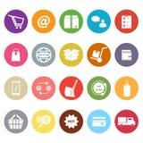 Iconos planos del comercio electrónico en el fondo blanco fotos de archivo