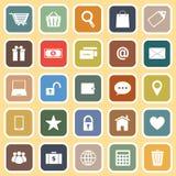 Iconos planos del comercio electrónico en fondo amarillo Imagen de archivo