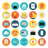 Iconos planos del comercio electrónico y del mercado Fotos de archivo
