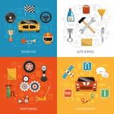 Iconos planos del concepto 4 autos ilustración del vector