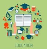 Iconos planos del concepto de diseño para la educación Concepto del aprendizaje electrónico Fotografía de archivo libre de regalías