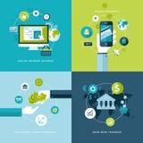 Iconos planos del concepto de diseño de formas de pago en línea Foto de archivo