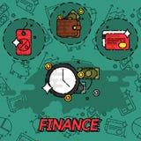 Iconos planos del concepto de las finanzas libre illustration