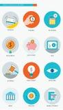 Iconos planos del concepto de las finanzas y del negocio bancario fijados Imagen de archivo libre de regalías