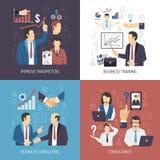 Iconos planos del concepto 4 del entrenamiento del negocio stock de ilustración