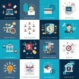 Iconos planos del concepto del márketing de las actividades bancarias fijados Foto de archivo