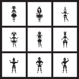 Iconos planos del concepto en bailarines blancos y negros del carnaval Foto de archivo libre de regalías