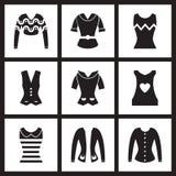 Iconos planos del concepto en ropa blanco y negro de las mujeres Foto de archivo libre de regalías