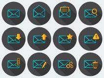 Iconos planos del correo electrónico fijados Imagen de archivo