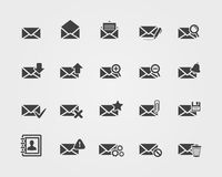 Iconos planos del correo electrónico fijados Foto de archivo libre de regalías