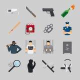 Iconos planos del crimen stock de ilustración