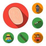 Iconos planos del crimen y del castigo en la colección del sistema para el diseño Ejemplo criminal del web de la acción del símbo stock de ilustración