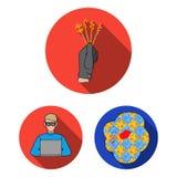 Iconos planos del crimen y del castigo en la colección del sistema para el diseño Ejemplo criminal del web de la acción del símbo ilustración del vector