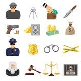 Iconos planos del crimen y del castigo Foto de archivo libre de regalías
