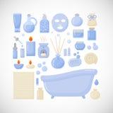 Iconos planos del cuarto de baño Imagen de archivo libre de regalías