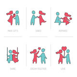 Iconos planos del día de tarjeta del día de San Valentín Fotos de archivo