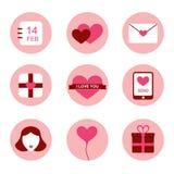 Iconos planos del día de tarjetas del día de San Valentín del diseño fijados Foto de archivo