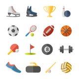 Iconos planos del deporte Imagen de archivo libre de regalías