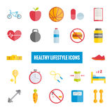 Iconos planos del deporte y de la forma de vida sana Imagenes de archivo