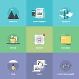 Iconos planos del desarrollo de negocios moderno fijados Fotografía de archivo libre de regalías