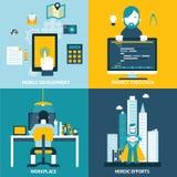 Iconos planos del desarrollo web Imágenes de archivo libres de regalías