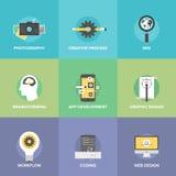 Iconos planos del desarrollo web creativo fijados Fotografía de archivo libre de regalías