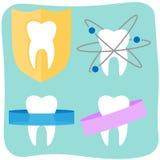 Iconos planos del diente ilustración del vector