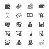 Iconos planos del dinero stock de ilustración