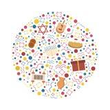 Iconos planos del diseño del día de fiesta de Jánuca fijados en forma redonda