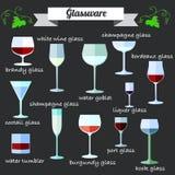 Iconos planos del diseño de la cristalería del vino fijados Foto de archivo libre de regalías