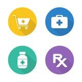 Iconos planos del diseño de la farmacia fijados Imagen de archivo libre de regalías