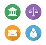 Iconos planos del diseño de la ley fijados Imagen de archivo
