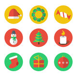 Iconos planos del diseño de la Navidad fijados Foto de archivo