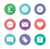Iconos planos del diseño de la tienda en línea fijados Fotos de archivo libres de regalías