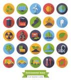 Iconos planos del diseño del ambiente y del clima fijados ilustración del vector
